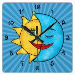 Sun Moon Square Wallclocks