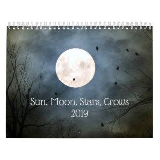 Sun, Moon, Stars And Crows 2019 Calendar