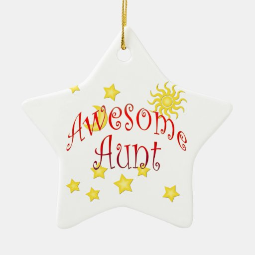 Sun Moon Stars Awesome Aunt Mother's Day Gift Double-Sided Star Ceramic Christmas Ornament