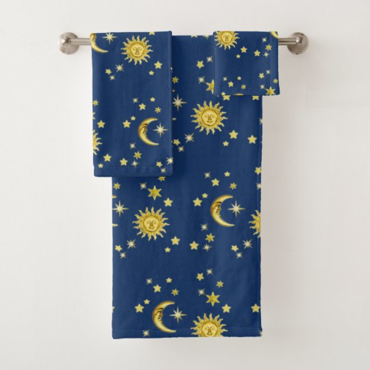 Sun Moon Stars Bath Towel Set Zazzle Com