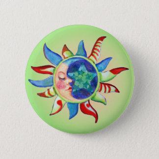SUN, MOON & STARS by SHARON SHARPE Button