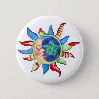SUN, MOON & STARS by SHARON SHARPE Pinback Button