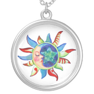 SUN, MOON & STARS by SHARON SHARPE Silver Plated Necklace