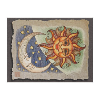 Sun Moon & Stars Canvas Print