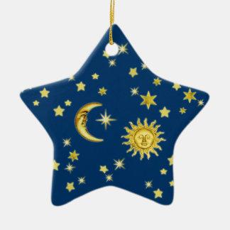 Sun, Moon & Stars Ceramic Ornament