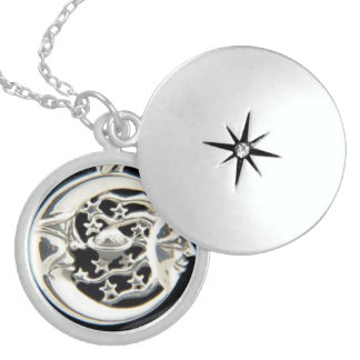SUN  MOON STARS CHARM STERLING SILVER NECKLACE