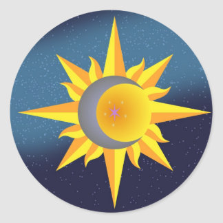 SUN MOON STARS FUSION ABSTRACT CLASSIC ROUND STICKER