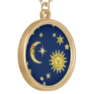 Sun, Moon & Stars Gold Plated Necklace