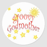 Sun Moon Stars groovy Godmother Mother's Day Gift Classic Round Sticker