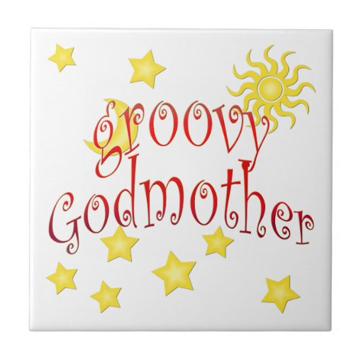Sun Moon Stars groovy Godmother Mother's Day Gift Tile
