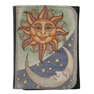 Sun Moon & Stars Leather Trifold Wallets
