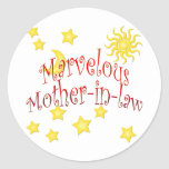 Sun Moon Stars Marvelous Mother-in-law Gift Classic Round Sticker