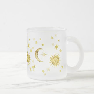 Sun, Moon & Stars 10 Oz Frosted Glass Coffee Mug