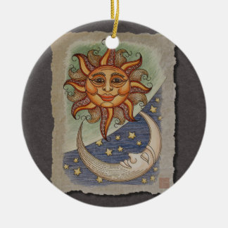 Sun Moon & Stars Double-Sided Ceramic Round Christmas Ornament