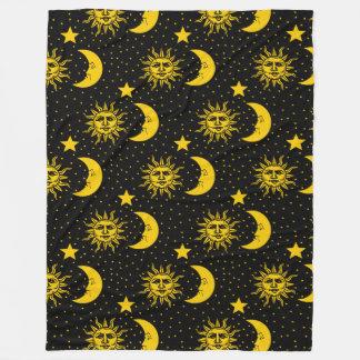Sun Moon Stars Pattern Fleece Blanket