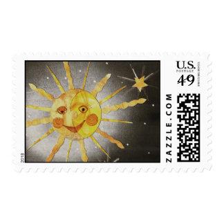 Sun Moon & Stars Postage Stamp