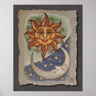 Sun Moon & Stars Posters