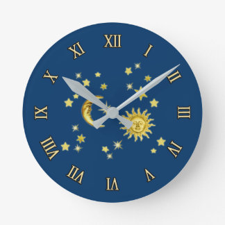 Sun Moon And Stars Wall Clocks Zazzle