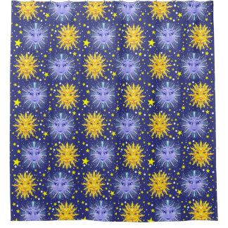 sun moon stars shower curtain, blue and yellow shower curtain