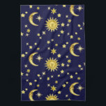 """Sun, Moon &amp; Stars Towel<br><div class=""""desc"""">Sun,  Moon &amp; Stars on a dark blue background (not only) a great design when your kitchen interior is blue and yellow.</div>"""