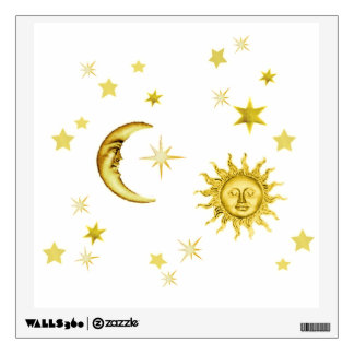 moon and stars wall decals amp wall stickers zazzle glow in the dark moon and stars wall sticker baby bedroom