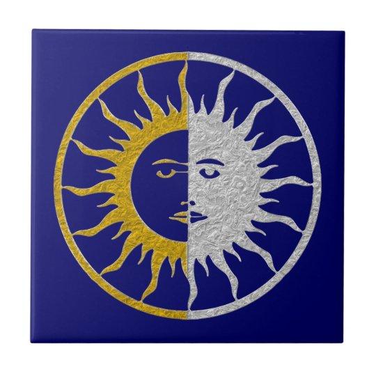 SUN & MOON Symbol - gold silver Ceramic Tile