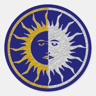 SUN & MOON Symbol - gold silver Classic Round Sticker