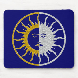 SUN & MOON Symbol - gold silver Mouse Pad