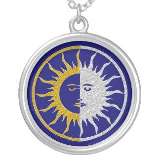 SUN & MOON Symbol - gold silver Round Pendant Necklace