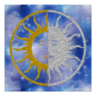 SUN & MOON Symbol - gold silver Sky Poster