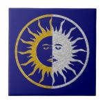 SUN & MOON Symbol - gold silver Small Square Tile