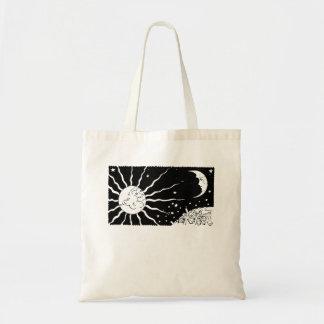 Sun Moon Vintage Night Space Scene Tote Bag