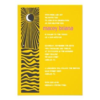 SUN MOON WATER Bar Bat Mitzvah Invitation