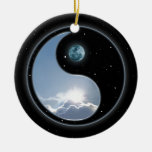 Sun-Moon Yin-Yang Double-Sided Ceramic Round Christmas Ornament