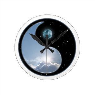 Yin Yang Sun Moon Wall Clocks Zazzle