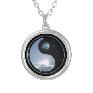 Sun-Moon Yin-Yang Silver Plated Necklace