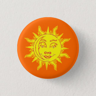 Sun Motif Button Pin Badge