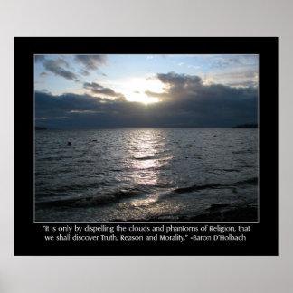 Sun, nubes, playa y cita de D'Holbach Poster