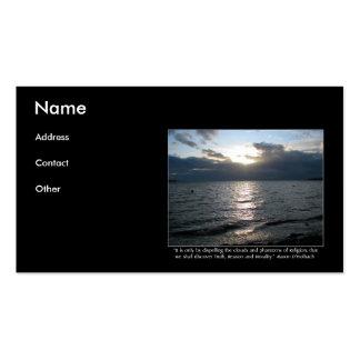 Sun, nubes, playa y cita de D'Holbach Tarjetas De Visita