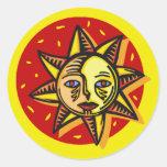 Sun observado azul etiqueta redonda