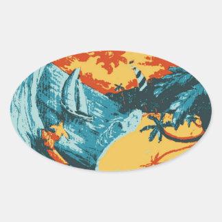 Sun Of A Beach Gallery Oval Sticker