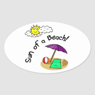 Sun of a Beach Oval Sticker