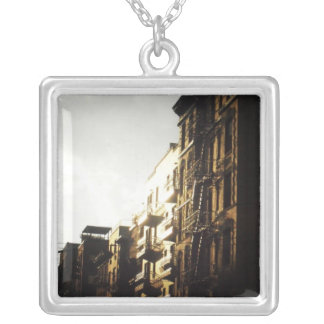Sun on Buildings, Lower East Side, NYC Square Pendant Necklace