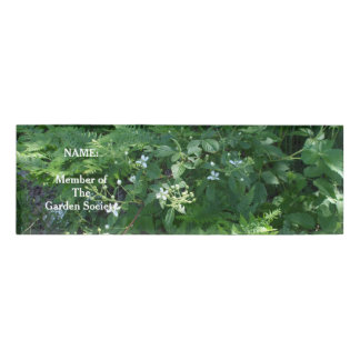 Sun on Ferns and Flowers Name Tag