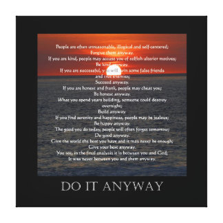 """Sun on Ocean Bottom """"Do It Anyway"""" Stretched Canvas Print"""