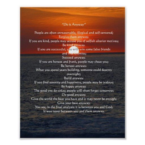 """Sun on Ocean 'Do It Anyway"""" Posters"""
