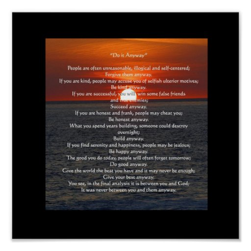 """Sun on Ocean in Black """"Do It Anyway"""" Posters"""