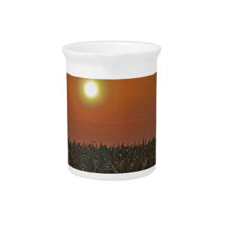 Sun Over a Corn Field Beverage Pitcher