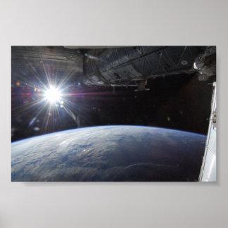 Sun Over Earth's Horizon Poster