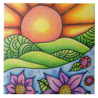 Sun Over Hills Stream and Flowers Ceramic Tile